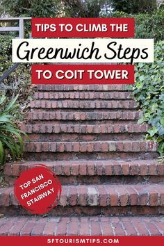 Discover tips to climb the beautiful Greenwich Steps to Coit Tower. This San Francisco stairway is beautifully maintained with lovely gardens on both sides. My guide will show you how to find these from the Embarcadero and will including pictures of what you'll see along the way. San Francisco Attractions, San Francisco With Kids, Pacific Heights, Concrete Stairs, North Beach, Free Things To Do, Colorful Garden, In The Tree, Stairways