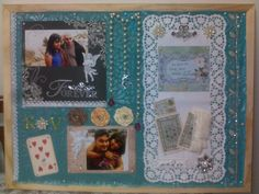 And this is the completed memory board! I love the fact that the sea-blue of the fabric still maintained it's vibrant hue and also how the little pops of colour infused in the elements all over still complemented the overall wedding look. This board looks quirky and fun and yet retains the elegance of the wedding theme that I was going for. Thanks to my sister Prasana Thiagaras for the sari fabric, and to my friend Sanjanaa Nagarajan for the Bobunny stickers.