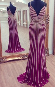 v neck prom dress,mermaid prom dress,gold beaded evening dress,luxury evening gowns,couture dress,pageant gowns,purple prom dress