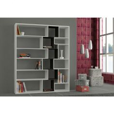 Roscoe Bookcase in White and Wenge - Casafina
