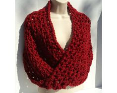 3 CROCHET PATTERNS - Mobius cowl, Neck Scarf and Shawl - Simple Elegance  - Super Bulky Red view