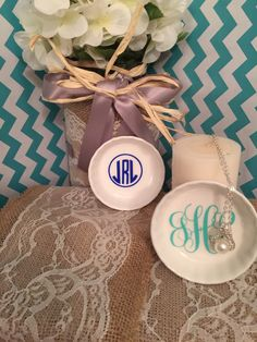 A personal favorite from my Etsy shop https://www.etsy.com/listing/266448938/monogrammed-ring-dishes