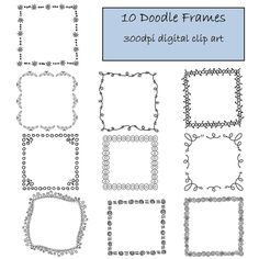 10 Doodle Frame Clip Art Set, Digital Clip Art borders BUY 1 GET 1 FREE. $5.00, via Etsy. Doodle Fonts, Doodle Borders, Doodle Icon, Doodle Drawings, Easy Drawings, Doodle Art, Line Doodles, Bujo Doodles, Doodle Frames