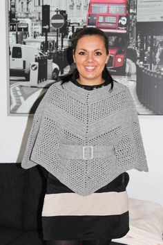 Crochet poncho.. I will be trying this when I make my little sisters poncho.. I really like how it's mad and the belt really brings the poncho out.. It really nicely fitted and not to big..