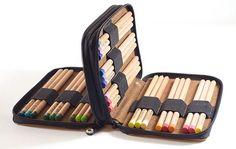 Leather colored pencil case