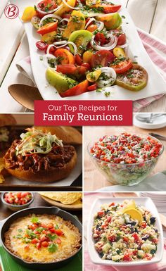 We've laid out our best reunion recipes in five categories ranging from main dishes to desserts, now it's up to you pick your faves and wow the crowd (even picky Aunt Edna). Best Potluck Dishes, Potluck Recipes, Best Dishes, Food Dishes, Cooking Recipes, Family Reunion Recipes, Family Reunions, Family Meals, Crowd Food