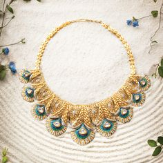 Indian Wedding Jewelry - Gold and Aqua Necklace WedMeGood Gold Jewelry Simple, Indian Wedding Jewelry, Rose Gold Jewelry, Indian Jewelry, Bridal Jewelry, Gold Jewellery, Simple Necklace, Indian Weddings, Real Weddings