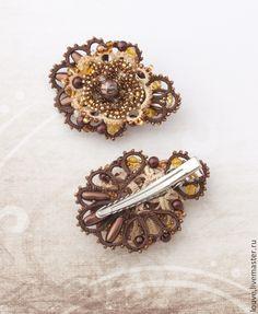 Купить Авторская заколка для волос Шоколад цукаты кружевное украшение анкарc - коричневый, шоколад, шоколадный
