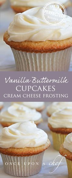 Vanilla Buttermilk Cupcakes With Cream Cheese Frosting - This Is My Go-To When I Need To Whip Up A Quick Batch Of Birthday Cupcakes. The Buttermilk Adds A Subtle, Pleasant Tang And Also Keeps The Cupcakes Very Moist. Cupcake Muffin, Cupcake Cream, Cupcakes With Cream Cheese Frosting, Cupcake Frosting, Cupcake Cakes, Baking Cupcakes, Desserts With Cream Cheese, Frosting Tips, Gourmet Cupcakes