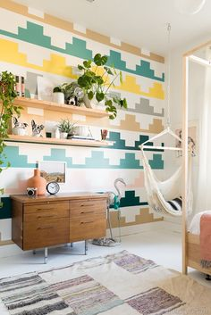 Vintage Revivals Girls Bedroom Makeover | Kids Bedroom Ideas | Patterned Wall | Accent Wall