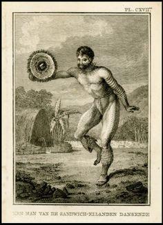 Dancing Man 1784 by James Cook Hawaiian Man (Waimea, Kauai) 1778 by Ellis, William Webb Danse des hommes dans les iles Sandwich (D. James Cook, Kauai, Island Tattoo, Hawaiian Men, Just Ink, Cook Islands, Picture Tattoos, Body Tattoos