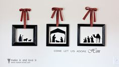 manger scene in silhouettes- so neat and simple looking Christmas Vinyl, Christmas Nativity, Noel Christmas, Winter Christmas, Christmas Ideas, Christmas Printables, Christmas Scenes, Christmas Time Is Here, All Things Christmas