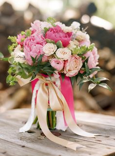 peach and pink peony, rose and ranunculus bouquet by Stella Event Design