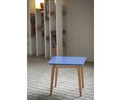 Table d'appoint bois laqué et hêtre, bleu foncé - 50*40
