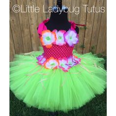 Hawaiian Luau Tutu Party Dress. Perfect for Laua, Tropical or Summer Birthdays. Also great for pageant wear competitions. featuring and polyvore,