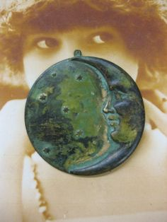 Verdigris Patina Large Crescant Moon and Star by dimestoreemporium, $3.00
