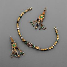 Phoenix Ancient Art brings some examples of Hellenistic Jewelry.  Hellenistic Polychrome Gold Jewellery Set.