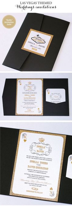 Las Vegas wedding invitations in black, white and gold glitter in pocket fold style. Vegas Wedding Invitations, Vegas Themed Wedding, Las Vegas Weddings, Party Invitations, Wedding Planner, Paris Las Vegas, Kraft Paper Wedding, Wedding Cards, Wedding Stuff