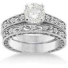 Allurez Carved Floral Wedding Set Engagement Ring & Band 14K White... ($1,145) ❤ liked on Polyvore