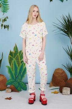 Dinosaur Print Jumpsuit Multicolour - THE WHITEPEPPER