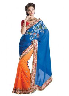 Radiant Touch Blue & Orange Saree