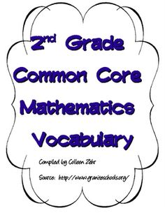 $2.50 These are vocabulary word cards for the second grade Common Core Math Standards.  These may be printed front to back for vocabulary cards or fronts...