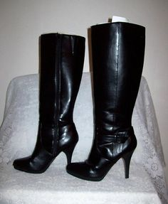 553fee18709b6 Vintage 1960s Ladies Brown Fully Lined Knee High Snow Boots. Vintage 90s  Ladies Black Knee High Dress Boots by Worthington
