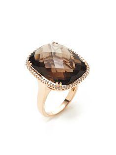 Diamond & Smoky Quartz Cushion Ring by Danni