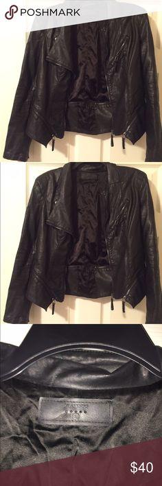 4b6c8678da77 Faux leather Black Jacket Faux Leather Black Blazer Style jacket - Size L-  fits more