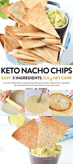 KETO TORTILLA CHIPS easy 4 ingredients, Dairy free + Low Carb + Vegan + NO cheese with almond flour. to do dairy free keto Low Carb Tortilla Chips - Keto chips + vegan + Gluten Free - Sweetashoney Dairy Free Low Carb, Low Carb Keto, Low Carb Recipes, Diet Recipes, Dairy Free Keto Recipes, Smoothie Recipes, Low Carb Vegan Diet, Cookie Recipes, Dairy Free Cheese