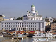 View to Market Square on Waterfront, Palace of President and Lutherian Cathedral, Helsinki, Finland, Scandinavia, Europe Photographic Print