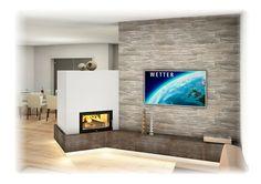 Kachelofen Modern mit Sichtfenster und TV Wand
