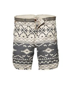 Rock chino shorts with ethnic print by Scotch & Soda