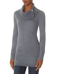 Buttoned Split Turtleneck Tunic Sweater from THELIMITED.com