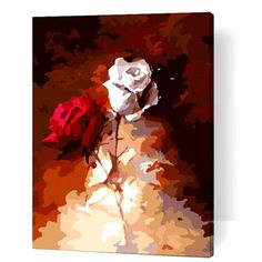 Love of Red Rose & White Rose Home Decor DIY Acrylic Oil Paint by Number Kit Art Mural Collection