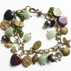 Heart charm #bracelet green aventurine pearl by HanoverMerryMakers #jewellery