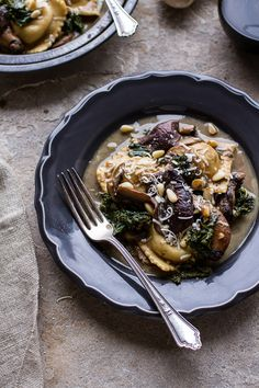 Taleggio Ravioli with Garlicy Butter Kale and Mushroom Sauce + Toasted Pine Nuts | halfbakedharvest.com @hbharvest