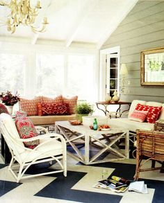 At the top of my list of places to visit is Australia. When I get the chance to go, checking out Anna Spiro's home furnishings shop Black and Spiro will for sure be on my itinerary. Anna's blog, Absolutely Beautiful Things, is a great place for colorful inspiration. This week she posted Deborah Needleman's sun porch with a showstopping chevron floor and layers of patterned pillows. What a perfect place to spend the holiday weekend!