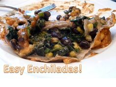 GO MEATLESS!: Black Bean and Spinach enchiladas...easy dinner! :), via YouTube.