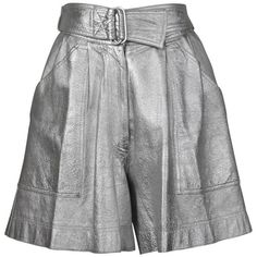 Preowned Krizia Vintage High Waist Metallic Silver Leather Shorts With... (£270) ❤ liked on Polyvore featuring shorts, silver, silver metallic shorts, high-waisted shorts, high waisted leather shorts, vintage shorts and vintage high waisted shorts