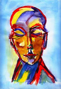 D.Schmidt Aquarelldruck 20x30cm porträt abstrakt Zeichnung Malerei Kunst P157 | Antiquitäten & Kunst, Kunst, Künstlerische Zeichnungen | eBay!