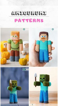 I always share with you what I find relevant to amigurumi. Amigurumi knitting toys will accompany your children's lives as pretty colorful friends. Minecraft Crochet Patterns, Minecraft Pattern, Crochet Patterns Amigurumi, Amigurumi Doll, Crochet Dolls, Knitting Patterns, Knitting Toys, Free Crochet, Knit Crochet