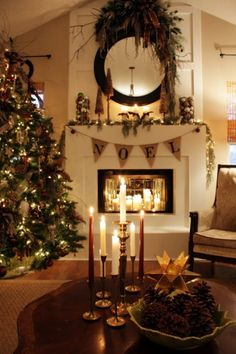 TRADITIONAL: holiday ideas. Love all the candles! And the bunting!