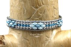 Blue And Silver Leather Wrap Bracelet, Boho Beaded Leather Cuff, Superduo Leather Wrap Bracelet For Women (SW134) by CinfulBeadCreations on Etsy