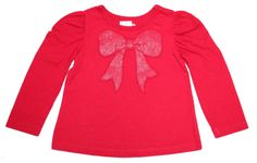 Red Top With Glitter Bow Detail