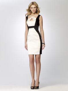 COCKTAIL DRESSES | Satin Color Block Dress | Caché