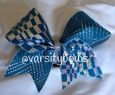 Teal Silver hologram Cheer Bow on Etsy, $10.00