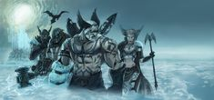 There are two groups of Norse gods,  the Aesir and Vanir.  There is also the Jotnar (giants and giantesses).   Norse Gods such as Odin (middle), Thor (left), Heimdal, (far left) and Freyja (right).  Norse Gods, wall painting by lanStain.deviantart.com