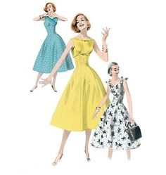 1950s Repro Vintage Sewing Pattern: Underbust Bow Dress. Butterick 5603