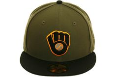 New Era 2Tone Milwaukee Brewers Alternate Fitted Hat - Olive, Black, Orange